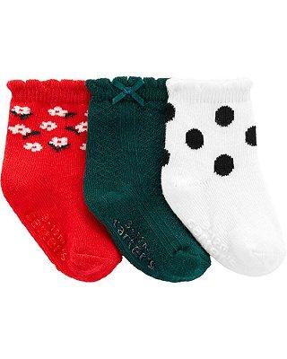 Kit 3 pares de meia Carter's - Coleção Natal