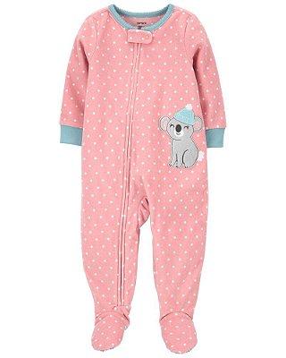 Macacão Pijama Plush Coala Rosa Carter's (pronta entrega)