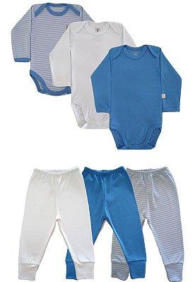 Kit 6 peças Body e Calça Algodão Fio 40 Ata Qualidade Azul