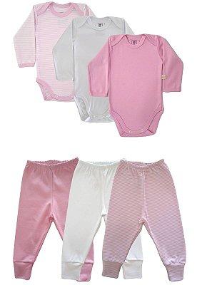 Kit 6 peças Body e Calça Algodão Fio 40 Ata Qualidade Rosa