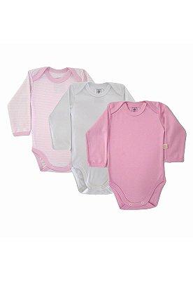 Kit Body 3 Peças Manga Longa Algodão Fio 40 Ata Qualidade Rosa