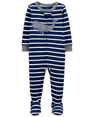 Macacão Pijama Algodão Carter's Baleia Azul