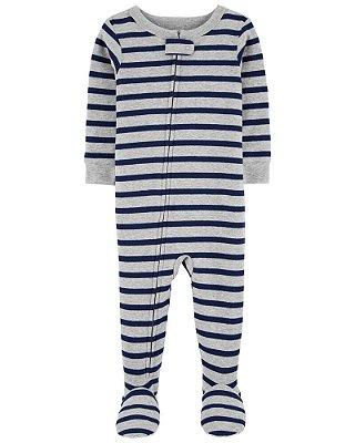Macacão Pijama Algodão Carter's Azul Listrado