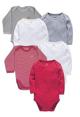 Kit Body 6 Peças Manga Longa Suedine Baby Best Cinza e Vermelho