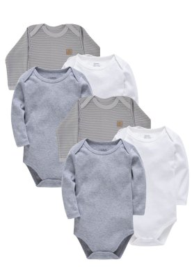 Kit Body 6 Peças Manga Longa Suedine Baby Best Cinza