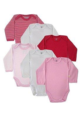 Kit Body 6 Peças Manga Longa Suedine Baby Best Rosa e Vermelho
