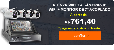 Kit 4 Cameras Ip Wifi + Nvr Wireless 4 Canais Wifi com Monitor 7