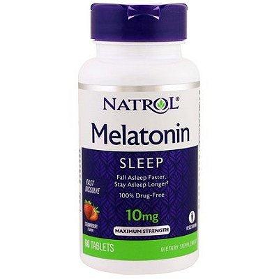 Melatonina 10 mg Fast Dissolve sublingual sabor Morango - Natrol - 60 comprimidos