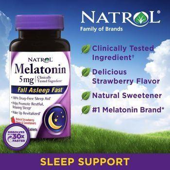 Melatonina 5 mg Fast Dissolve sublingual Sabor Morango - Natrol - 250 comprimidos