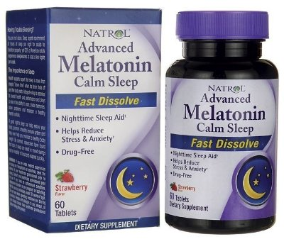 Melatonina Natrol Advanced CALM SLEEP Fast Dissolve 6 mg + Anti-stress - 60 comprimidos Sublingual Morango