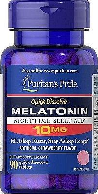 Comprar melatonina 10 mg - Puritan's Pride - rápida dissolução - 90 tabletes com sabor artificial de Morango