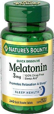Comprar Melatonina 3 mg Rápida dissolução - Nature's Bounty - 240 comprimidos (hormônio do sono)