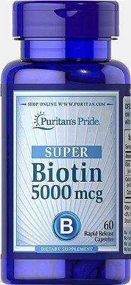 Biotina 5.000 mcg Super - Puritan´s Pride - 60 Cápsulas de liberação rápida