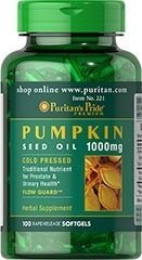 Óleo de Semente de abóbora - Puritan´s Pride - 1000 mg - 100 Softgels