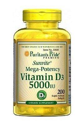 Vitamina D3 5000 IU - Puritan's - 200 softgels
