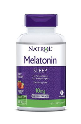 Melatonina 10 mg Fast Dissolve sublingual sabor Morango - Natrol - 100 comprimidos (Envio Internacional)