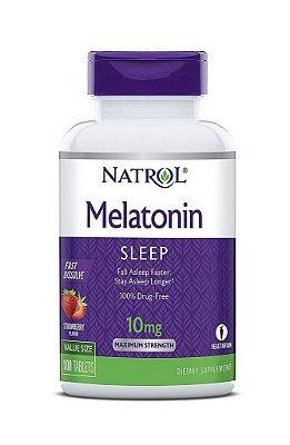 Melatonina 10 mg Fast Dissolve sublingual sabor Morango - Natrol - 100 comprimidos