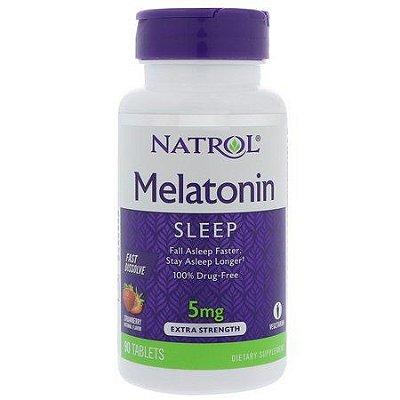 Melatonina 5 mg Fast Dissolve sublingual Sabor Morango - Natrol - 90 comprimidos