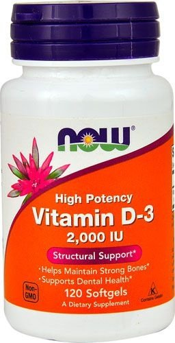 Vitamina D-3 2000 IU - Now Foods - 120 Softgels (Envio Internacional)