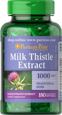 Milk Thistle Extract 1000 mg - Puritan´s Pride - 180 softgels