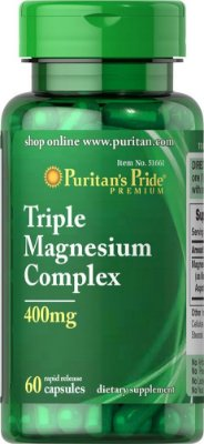 Triple Magnesium Complex 400 mg - Puritan´s Pride - 60 cápsulas rápida dissolução