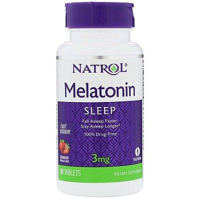 Melatonina 3 mg Fast Dissolve sublingual sabor morango - Natrol - 90 Comprimidos (Envio Internacional)