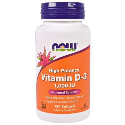 Vitamina D-3 1000 IU - Now Foods - 180 Softgels (Envio Internacional)