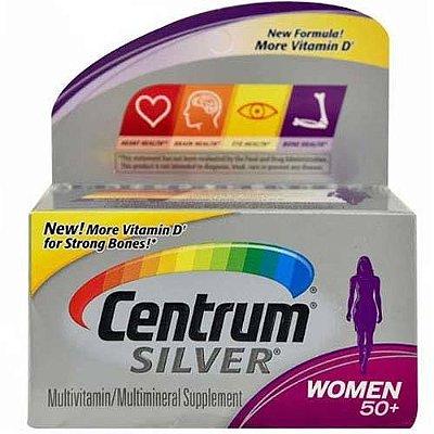 Multivitamínico Centrum Silver 50+ WOMEN - 40 tabletes  - Ideal para Mulheres com 50 anos ou mais(Envio Internacional)