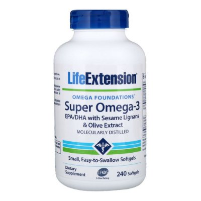 Super Ômega 3 EPA/DHA - Life Extension - 240 softgels (Envio Internacional)