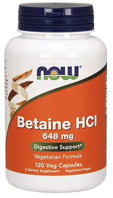 Betaína HCL 648 Mg com 150 mg De Pepsina - Now Foods - 120 Cápsulas (Envio Internacional)