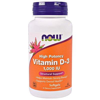 Vitamina D-3 1000 IU - Now Foods - 360 Softgels (Envio Internacional)