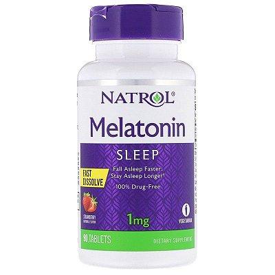 Comprar Melatonina 1 mg fast dissolve sublingual - Natrol - 90 tablets sabor Morango (hormônio do sono) (Envio Internacional)
