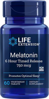 Melatonina 750 mcg - liberação lenta 6 horas - Life Extension - 60 tabletes vegetarianos (Envio Internacional 10-20 dias -FRETE GRÁTIS)