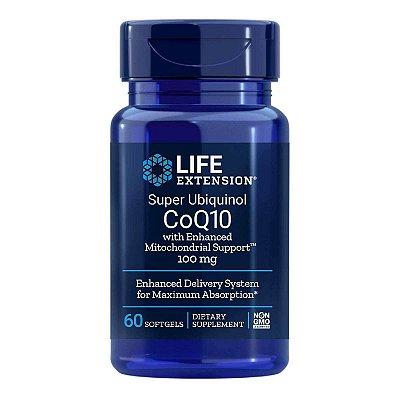 Super Ubiquinol CoQ10 com suporte mitocondrial aprimorado 100 mg - 60 cápsulas - Life Extension  • (Envio Internacional 10-20 FRETE GRÁTIS)