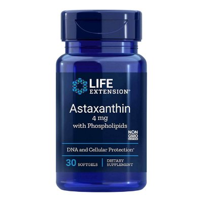 Astaxantina com fosfolipídios - 4 mg - 30 Softgels - Life Extension  • (Envio Internacional 10-20 FRETE GRÁTIS)