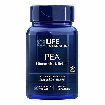 PEA desconforto alívio - 60 comprimidos mastigáveis - Life Extension (Envio Internacional 10-20 FRETE GRÁTIS)