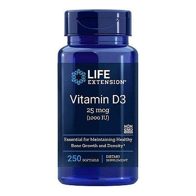 Vitamina D3 - 1.000 UI - 250 Cápsulas em Gel - Life Extension (Envio Internacional 10-20 FRETE GRÁTIS)