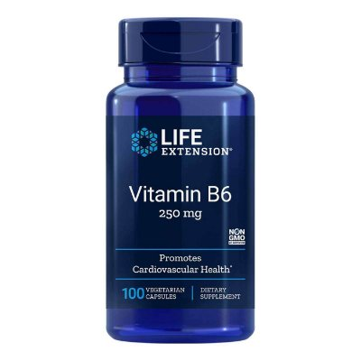 Vitamina B6 250 mg - 100 Cápsulas Vegetarianas -Life Extension (Envio Internacional 10-20 FRETE GRÁTIS)