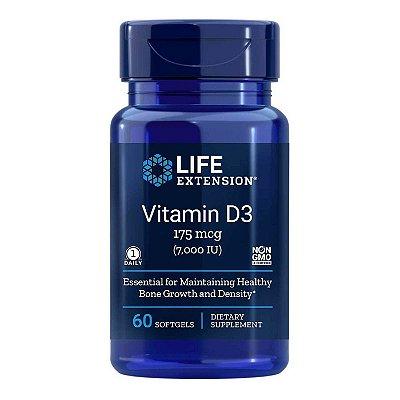 Vitamin D3 - 7,000 IU - 60 Softgels - Life Extension (Envio Internacional 10-20 FRETE GRÁTIS)