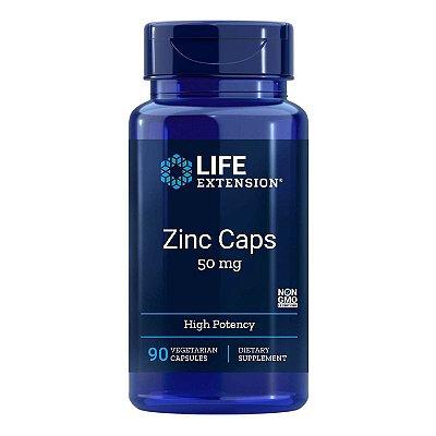 Zinco Caps 50 mg - 90 Cápsulas Vegetarianas - Life Extension(Envio Internacional 10-20 FRETE GRÁTIS)
