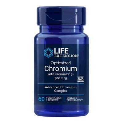 Cromo Otimizado com Crominex 3+ - 60 Cápsulas Vegetarianas - Life Extension   (Envio Internacional 10-20 FRETE GRÁTIS)