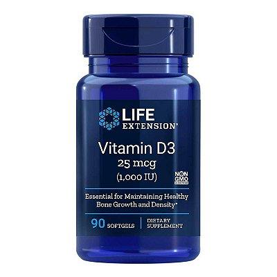 Vitamina D3 1000 UI - 90 Cápsulas em Gel - Life Extension   (Envio Internacional 10-20 FRETE GRÁTIS