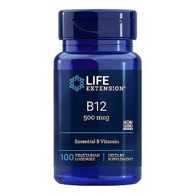 B12 500 mcg - 100 pastilhas vegetarianas - Life Extension   (Envio Internacional 10-20 FRETE GRÁTIS)