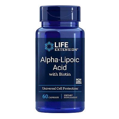 Ácido Alfa Lipóico com Biotina - 250 mg - 60 Cápsulas - Life Extension   (Envio Internacional 10-20 FRETE GRÁTIS)