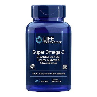Super Omega-3 EPA DHA com extrato de oliva de gergelim Lignans - 240 cápsulas -Life Extension   (Envio Internacional 10-20 FRETE GRÁTIS)