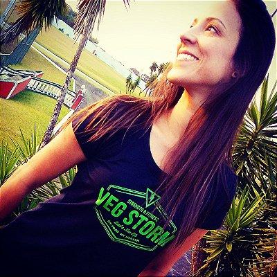 Camiseta dry fit feminina preta com estampa verde limão