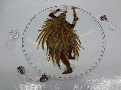 Mandala de Vidro - com desenho em verniz