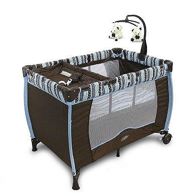 Berço Bebê Cercado PLUS  Desmontável C/regulagem De Altura Móbile - Cor: Marrom com listras Azuis