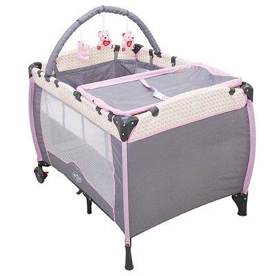 Berço Bebê Cercado PLUS Desmontável C/regulagem De Altura Móbile - Cor: Rosa com cinza