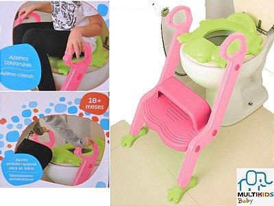 Assento Vaso Troninho Infantil Com Escada Rosa - Multikids Baby